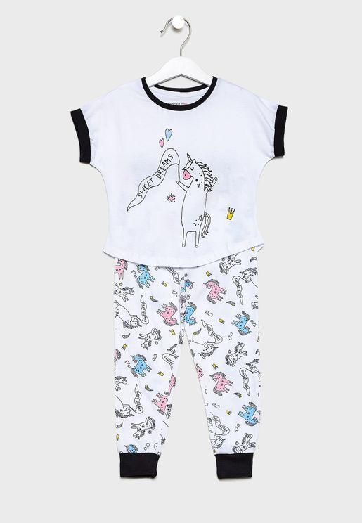 Teen Graphic T-Shirt + Printed Pyjama Set