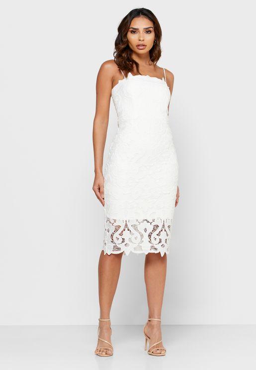 Sheer Trim Lace Bodycon Dress