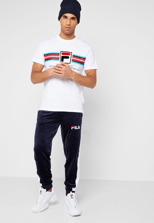 Gunner Mesh Striped Velour Sweatpants