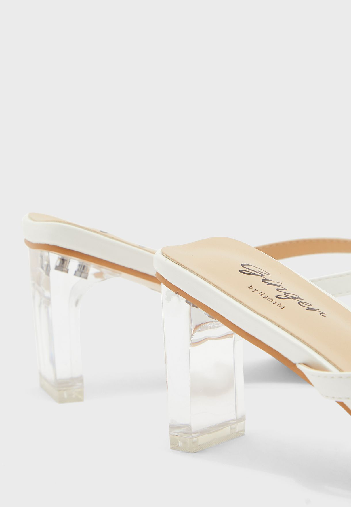 Square Toe Post Mule With Clear Heel