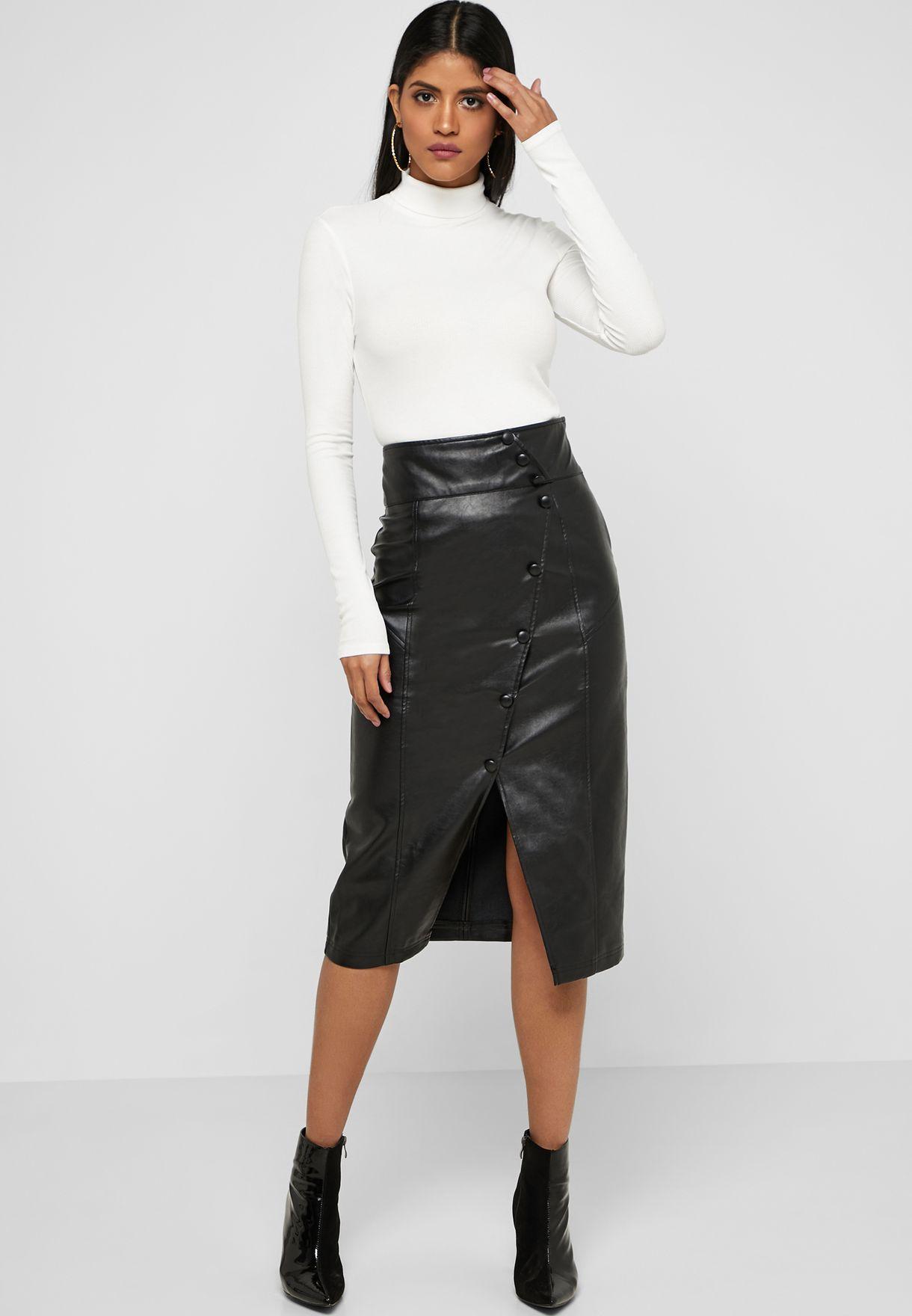76d3cffa203f Shop Lost Ink black Button Detail Midi Skirt 1.20111E+15 for Women ...