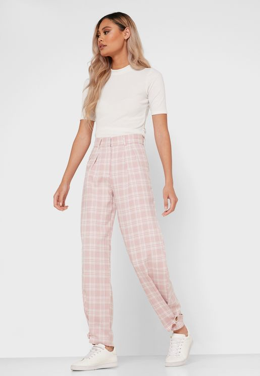 Checked High Waisted Pants