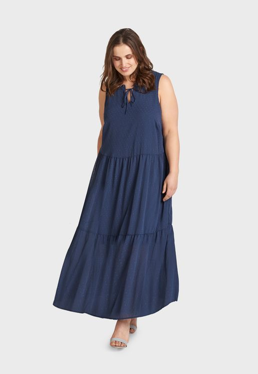 Pleated Detail High Neck Dress