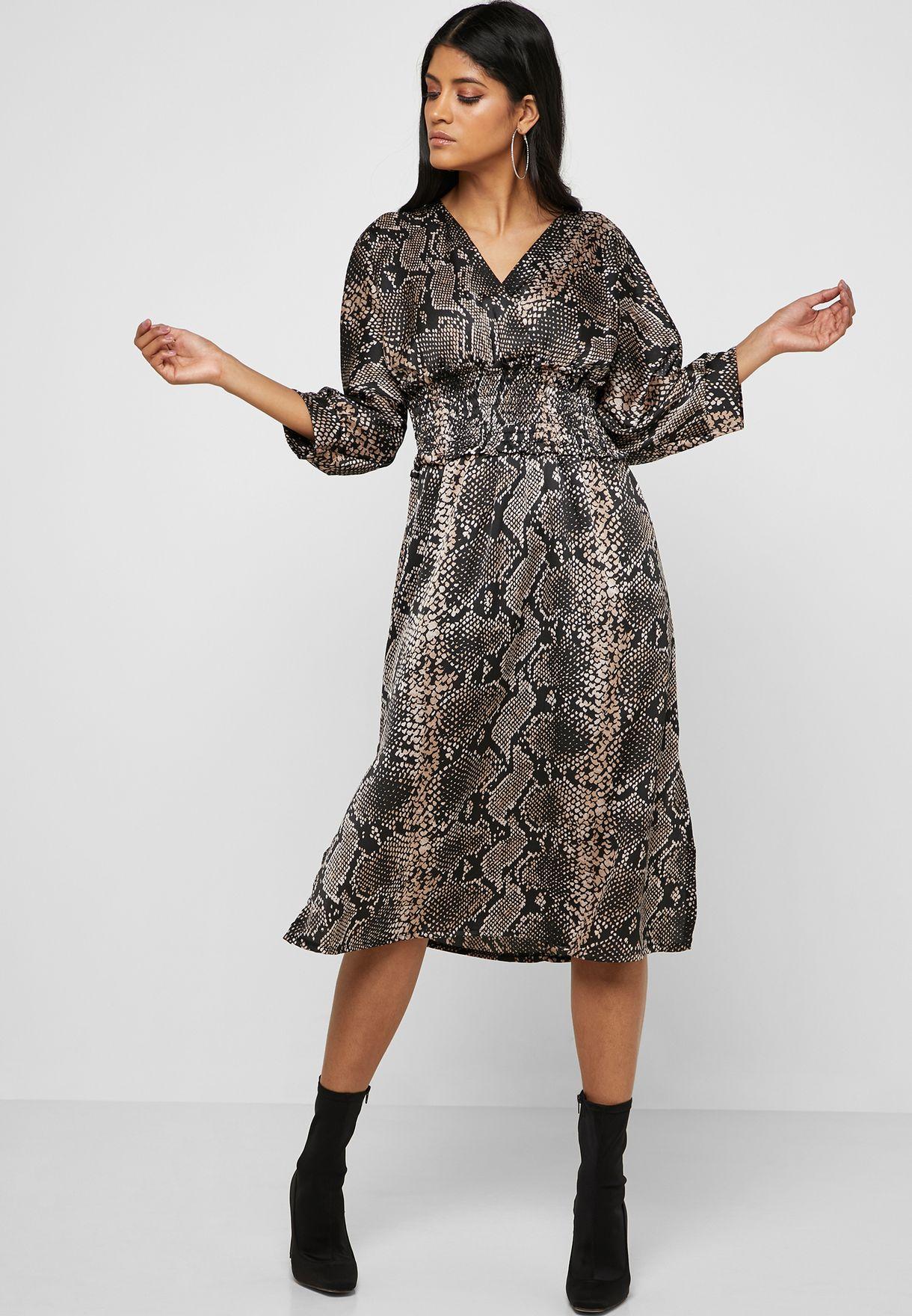 b8225f7841066 Black Floral Print Shirred Midi Bardot Dress - raveitsafe