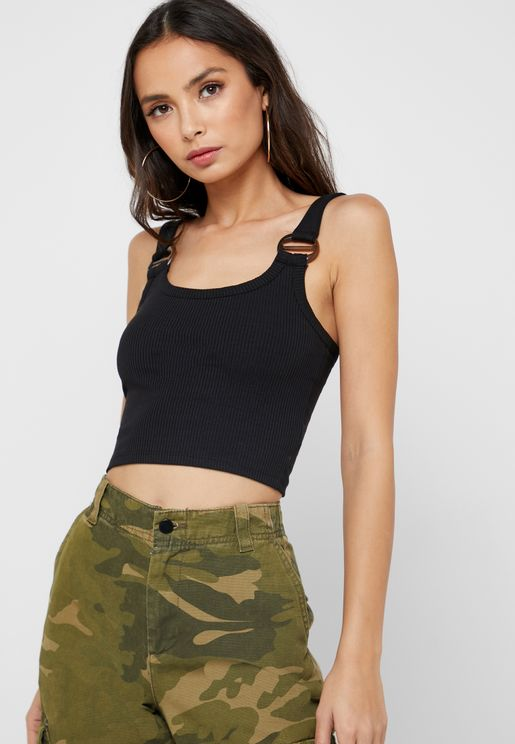 Buckle Detail Ribbed Cami Top