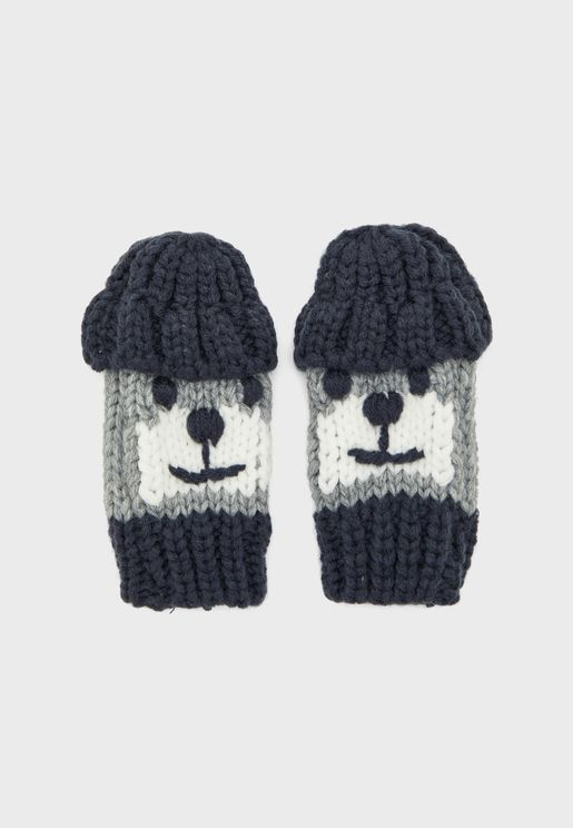 Infant Character Knitted Mittens