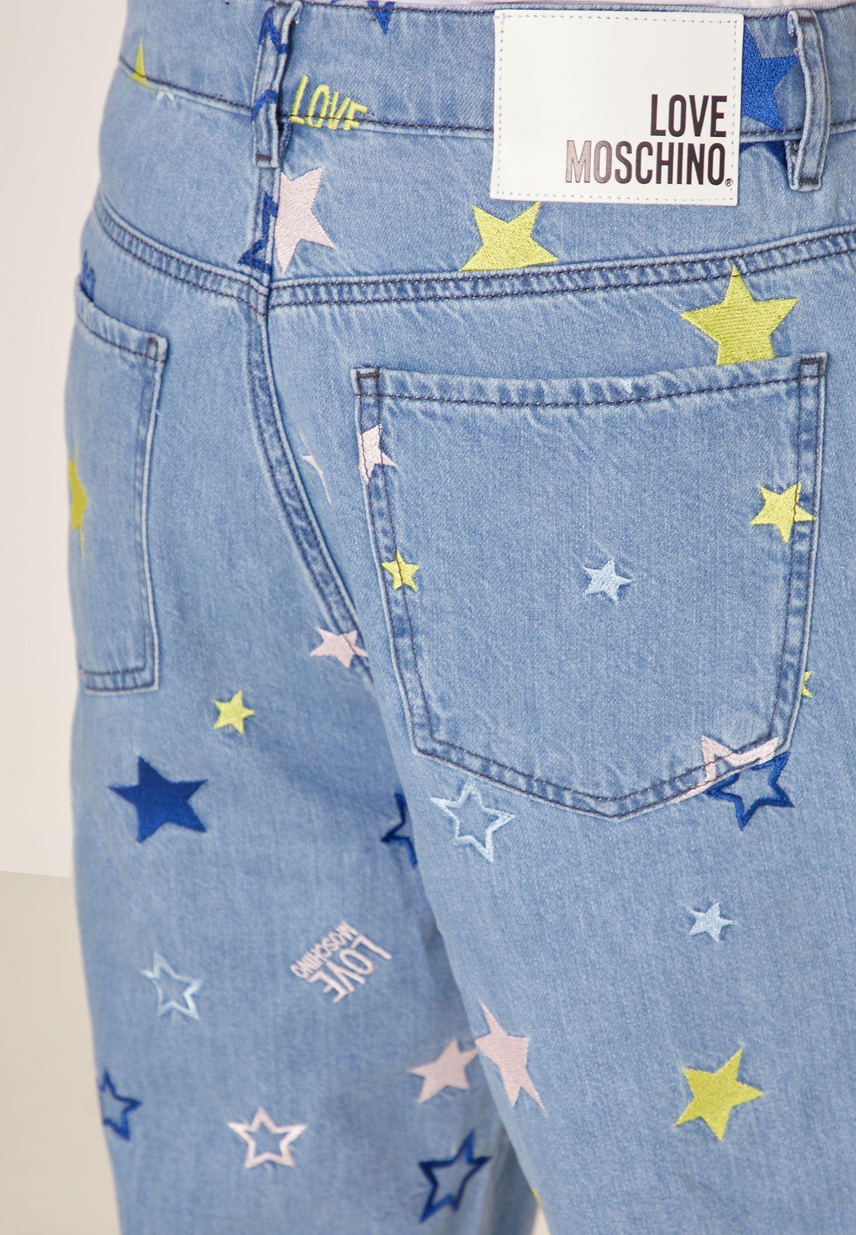 Printed Wide Leg Jeans