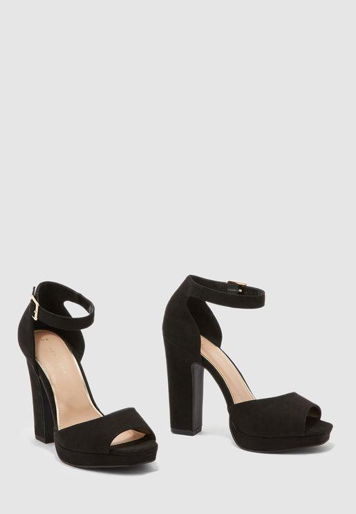 Ankle Strap Peep Toe Pump - black