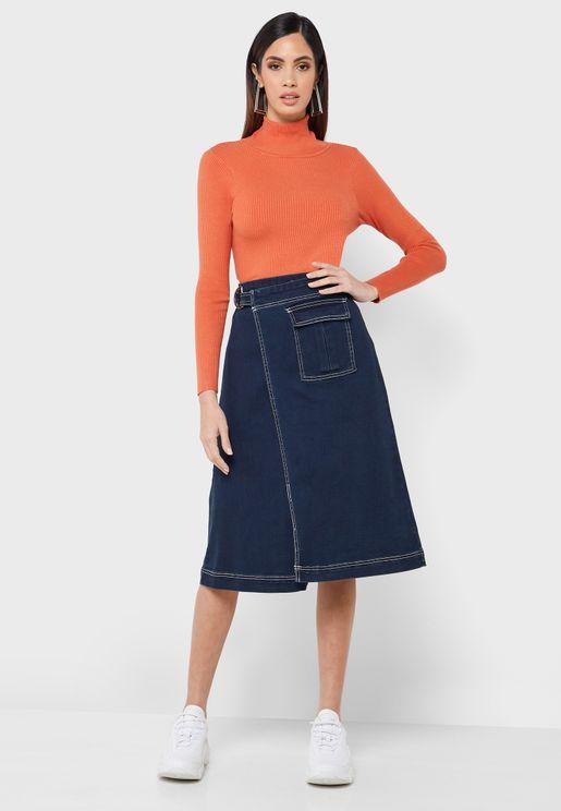 Denim Wrap Midi Skirt