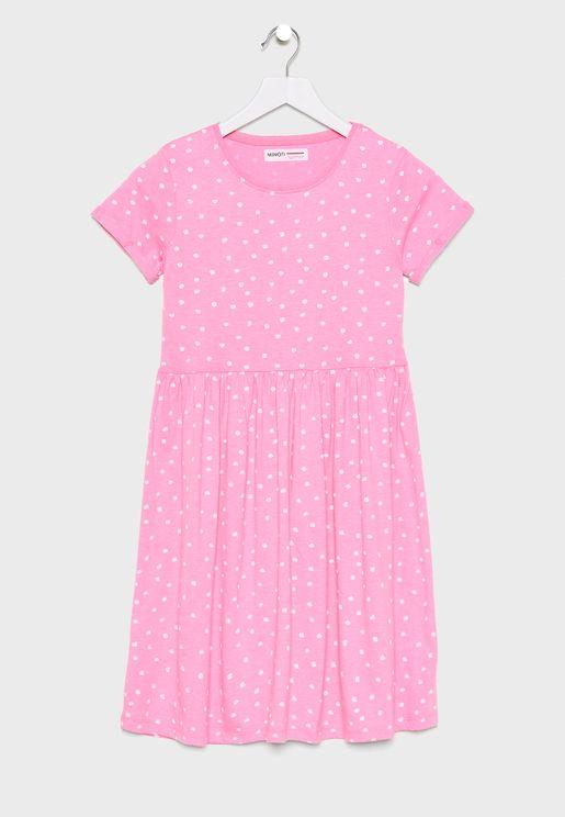 Teen Roll Sleeve Printed Dress