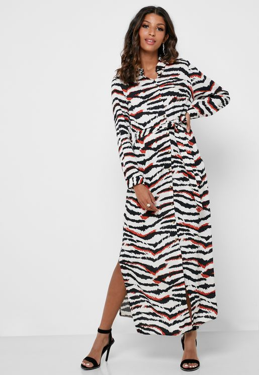 Zebra Print Belted Maxi Shirt Dress