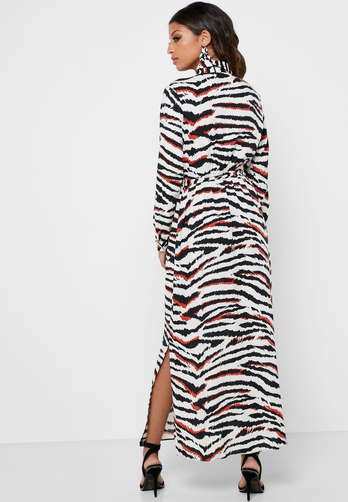 Zebra Print Belted Maxi Shirt Dress