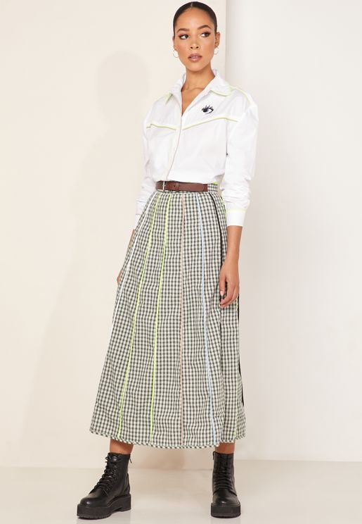 Louise Gingham Piping Detail Skirt