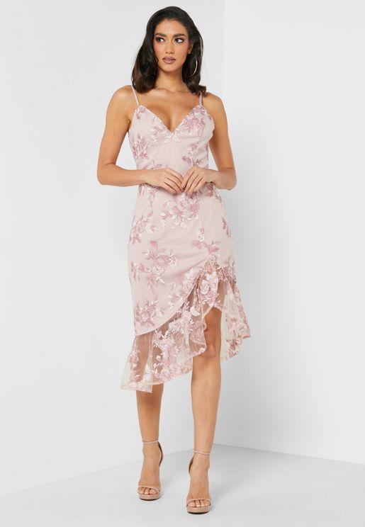Ruffle Hem Lace Detail Dress