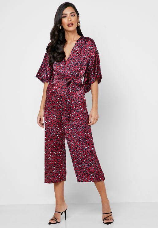 Leopard Print Wide Sleeve Jumpsuit