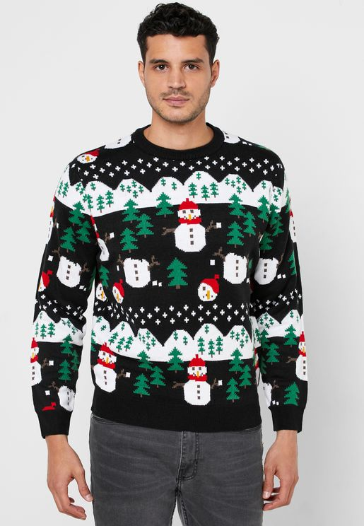 Snow Ball Print Knitted Sweater