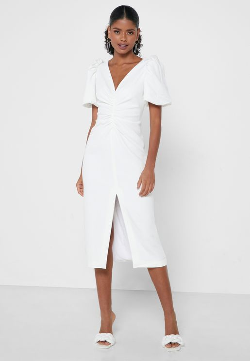 Front Split Puff Sleeve Dress
