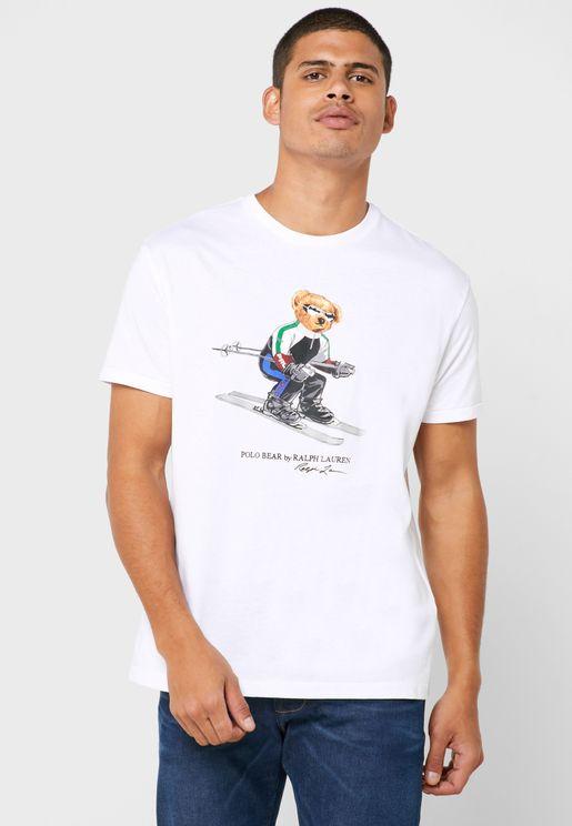 Bear Print Crew Neck T-Shirt