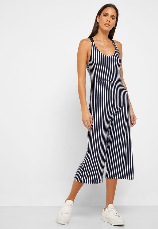 Tie Back Striped Jumpsuit