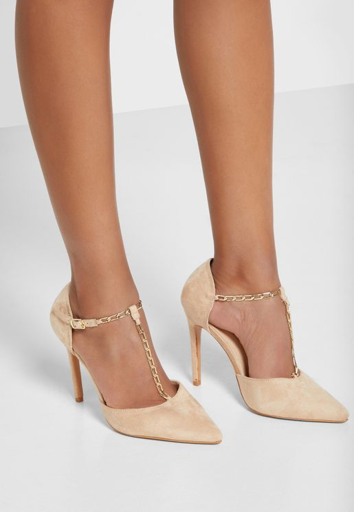 Faux Suede Chain Detail Pointed Ankle Strap Stilet