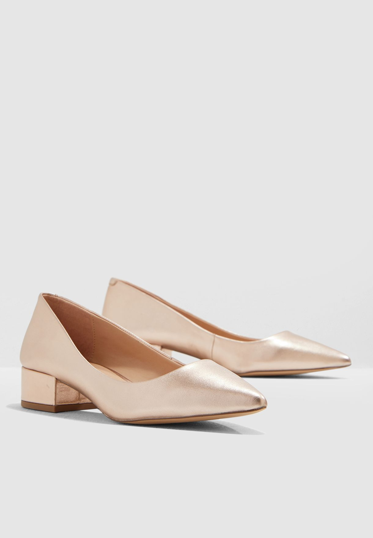 Bais Block Heel Pump - Gold