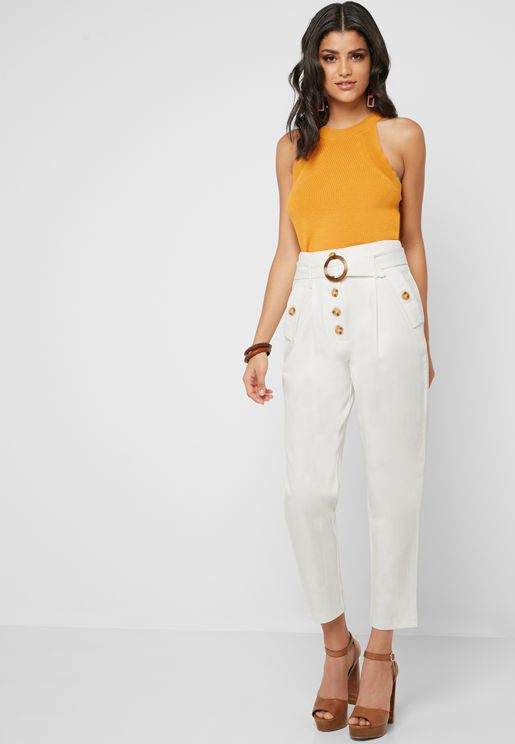Button Detail Belted Pants