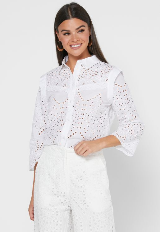 Openwork Button Down Shirt