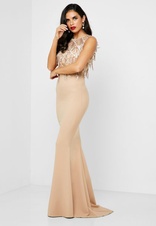 Drop Sequin Top Maxi Dress