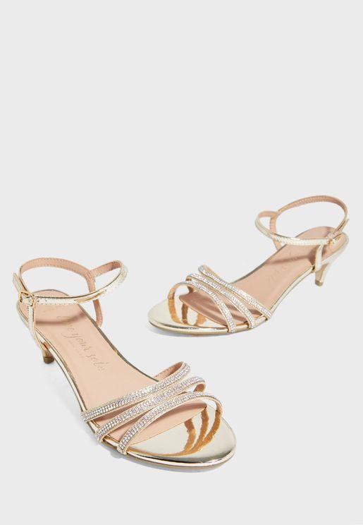 Zircon Wide Fit Ankle Strap Buckle Detail Sandal