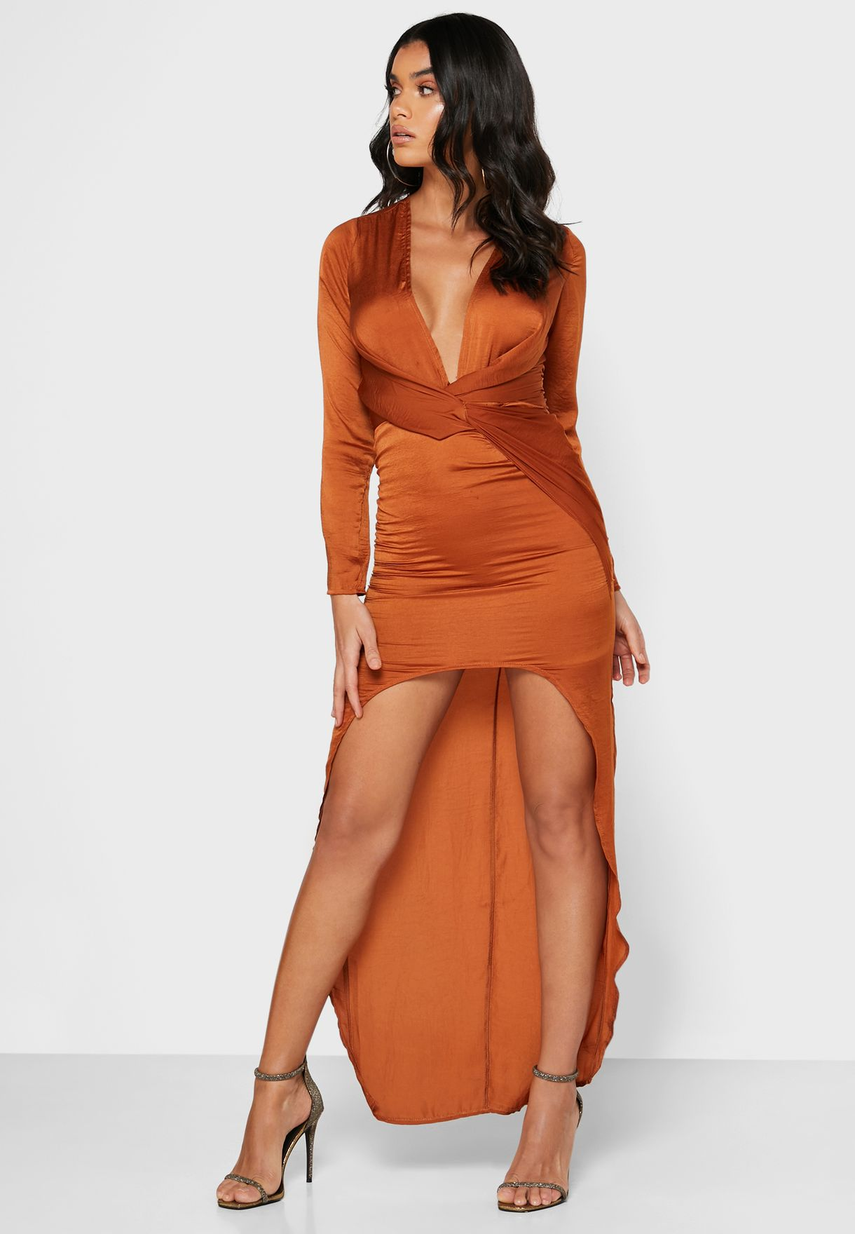 Twisted Front Asymmetric Dress