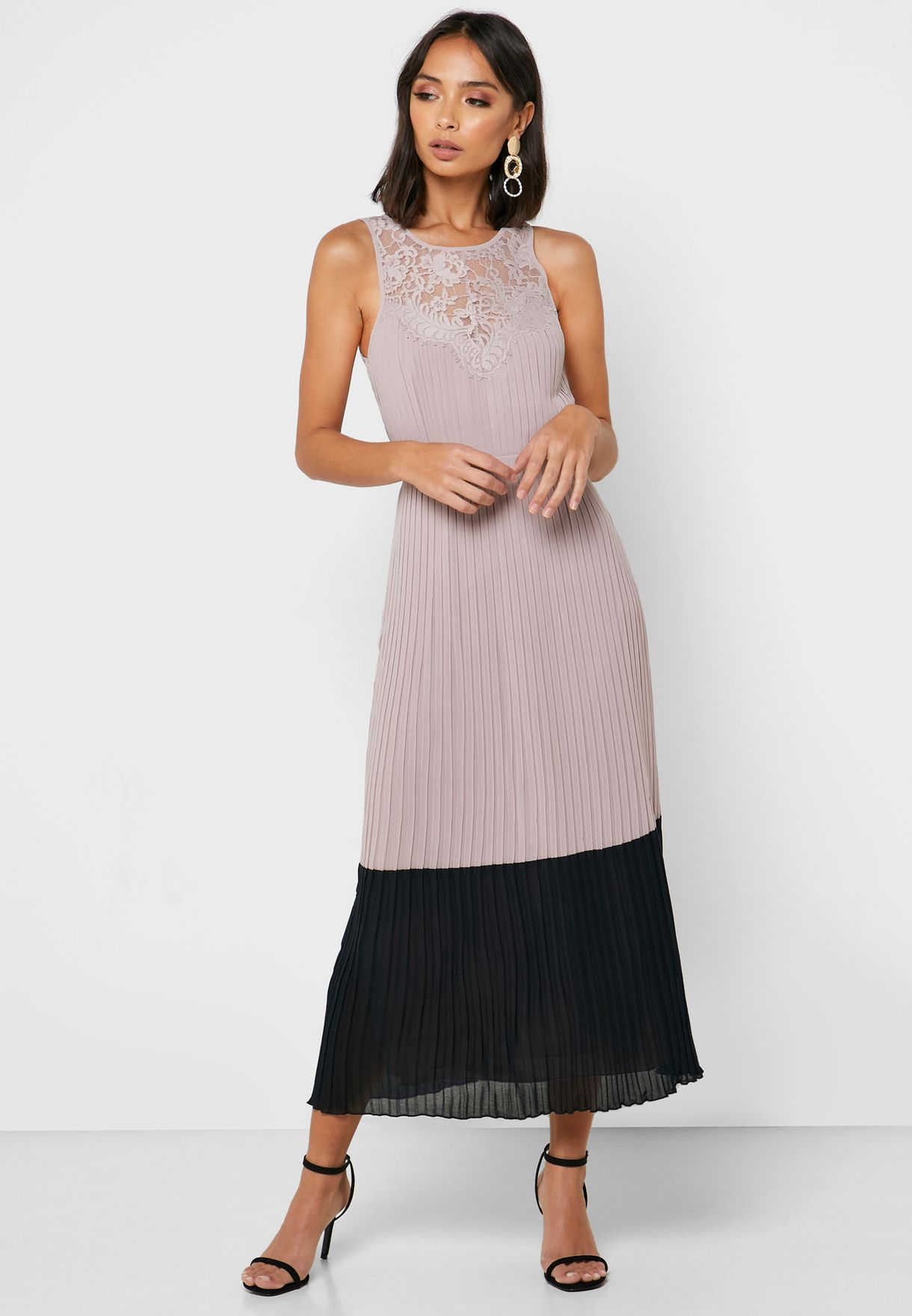 Colorblock Lace Detail Pleated Dress