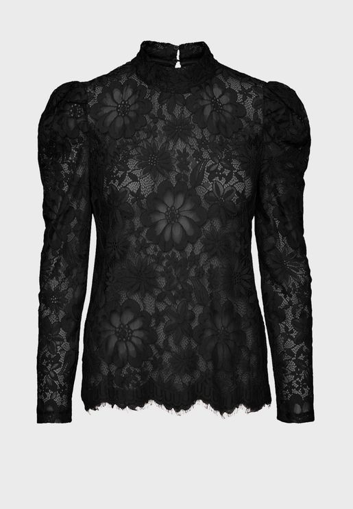 High Neck Sheer Lace Top