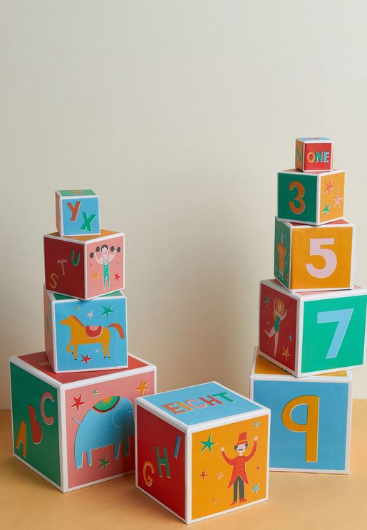 Set Of 10 Big Top Circus Blocks