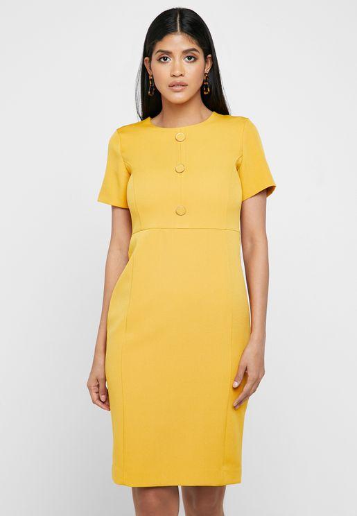 Button Detail Short Sleeve Dress