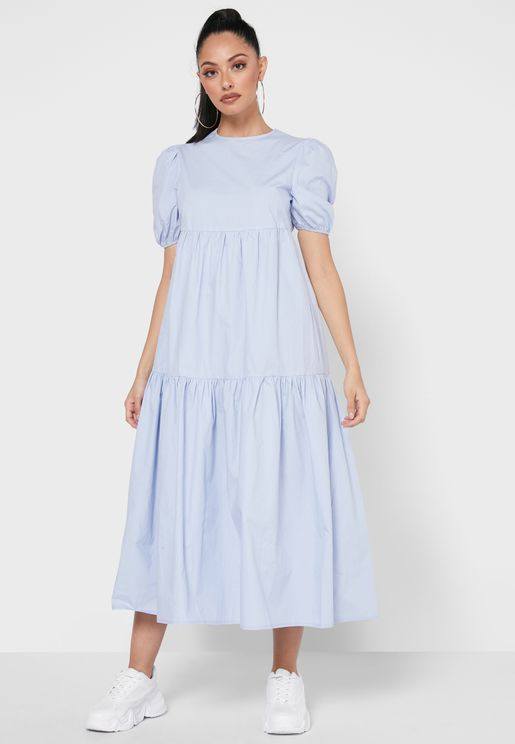 Tiered Midaxi Smock Dress