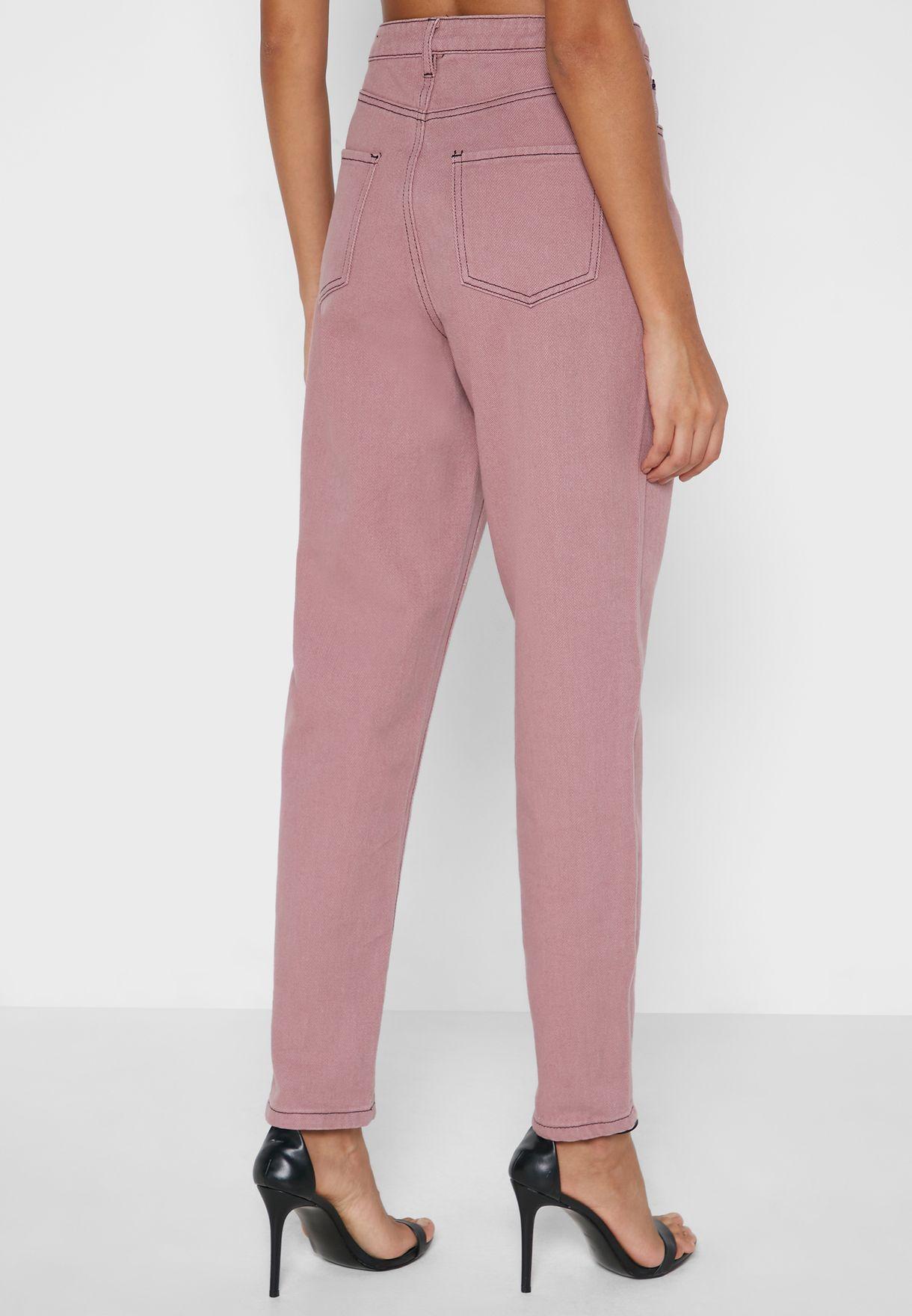 Contrast Stitch Straight Jeans