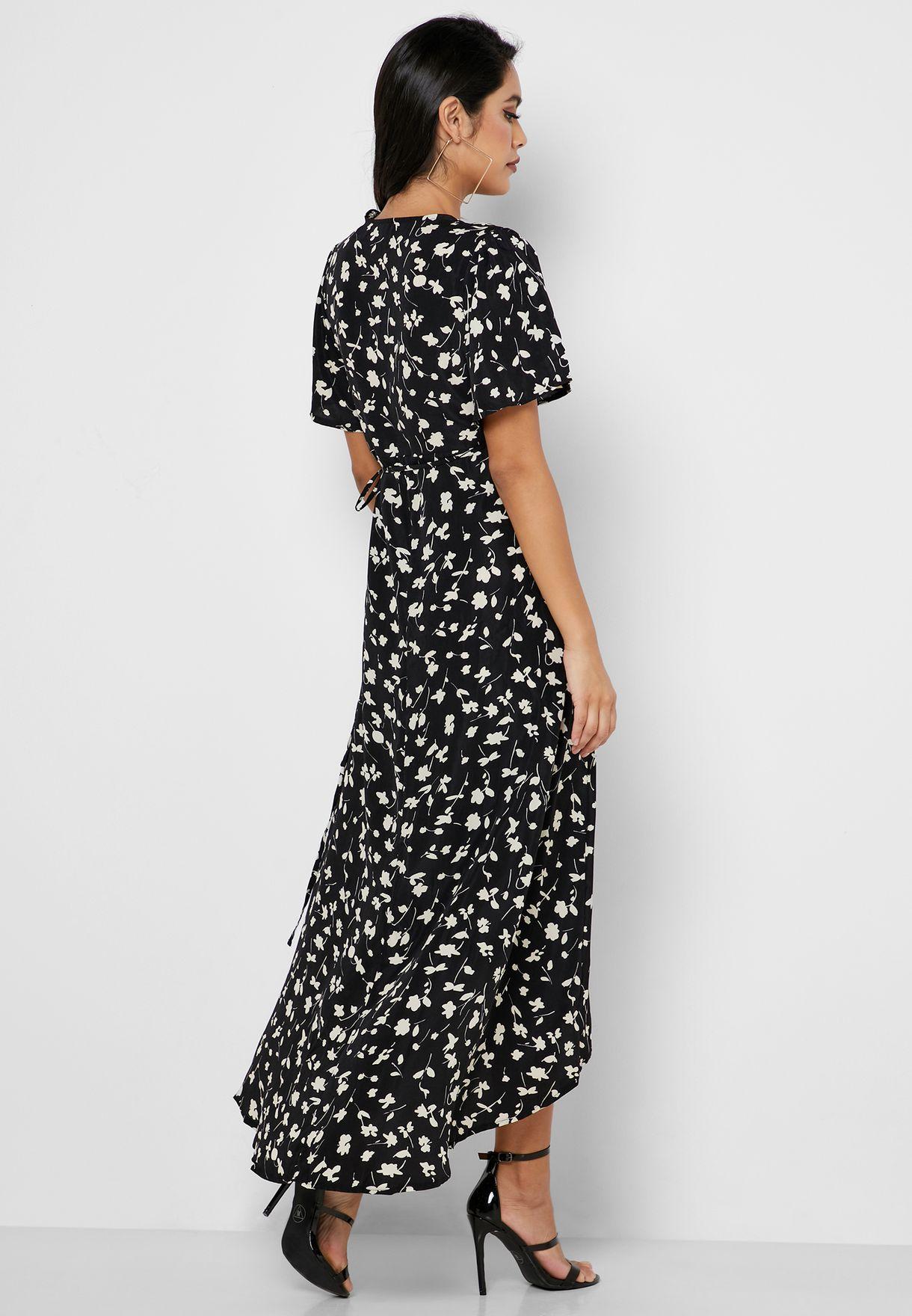 Side Tie Floral Print Plunge Dress
