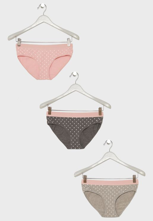 3 Pack Dotted Print Knickers
