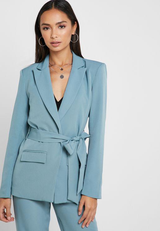 Belted long Sleeve V-Neck Jacket Co-Ord
