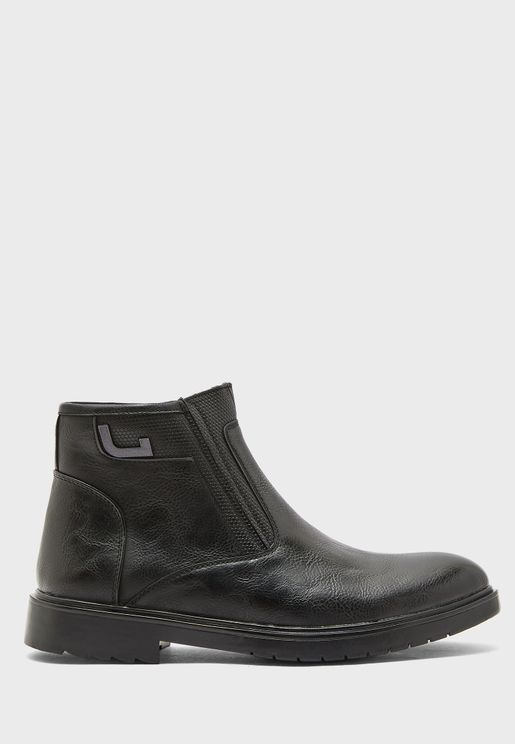 Faux Leather Dress Boots