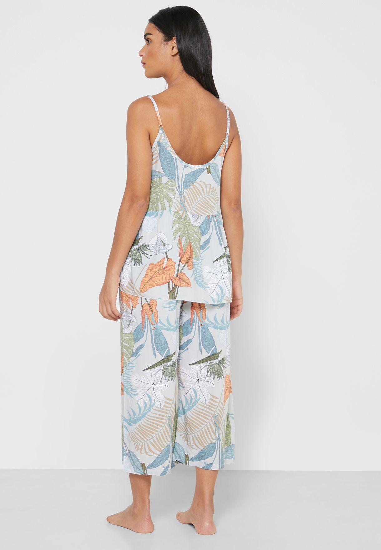 3 Pcs Floral Print  Nightwear Set