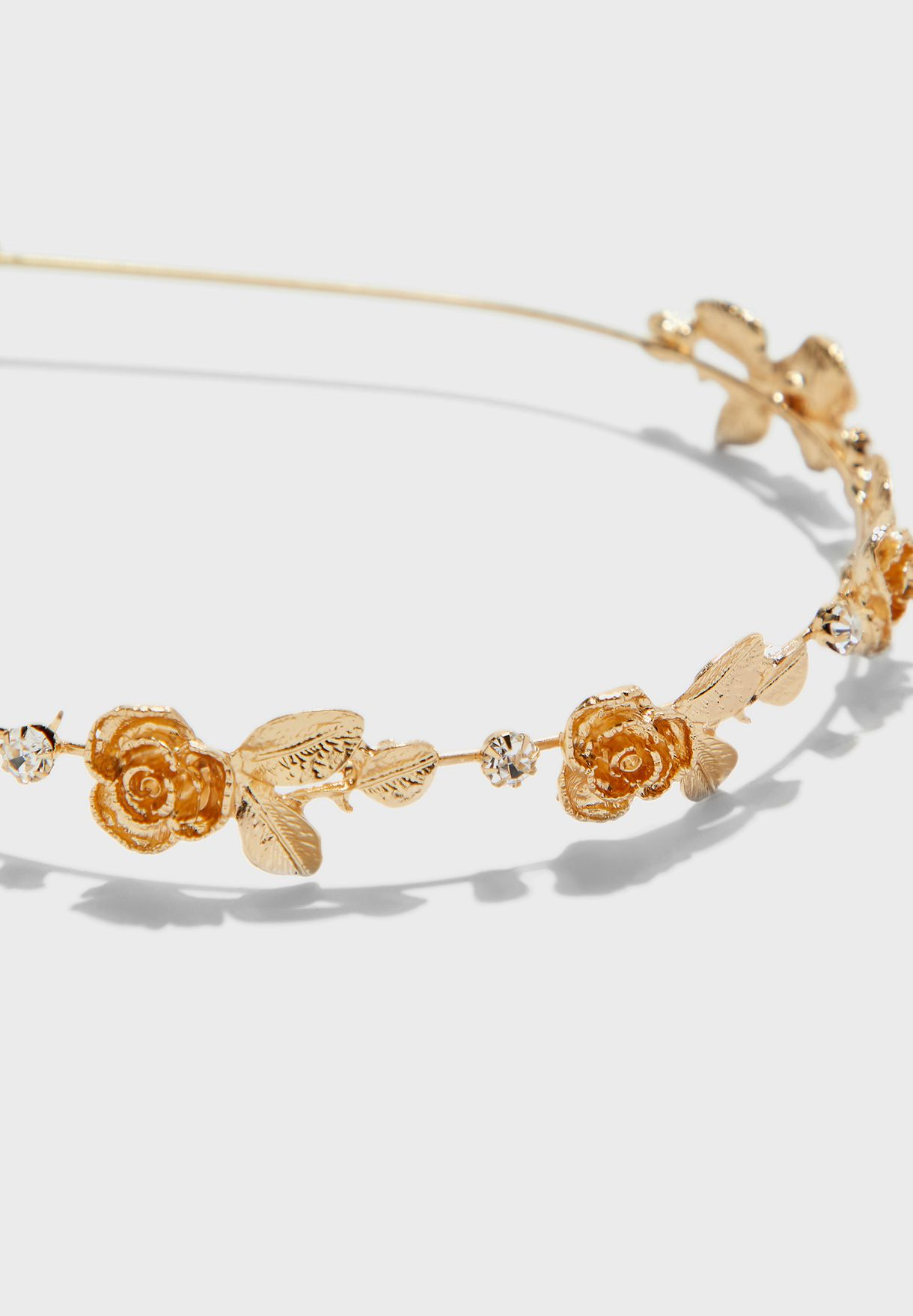 Floral Embellished Hairband In Metallic