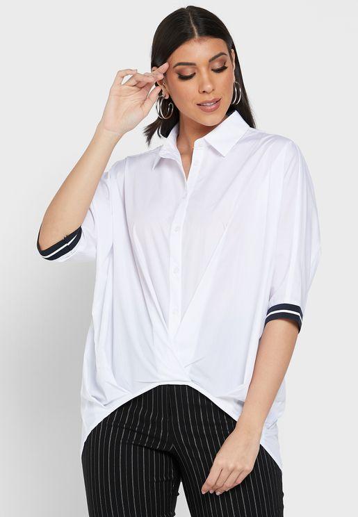 Button Down Pleat Detail Shirt