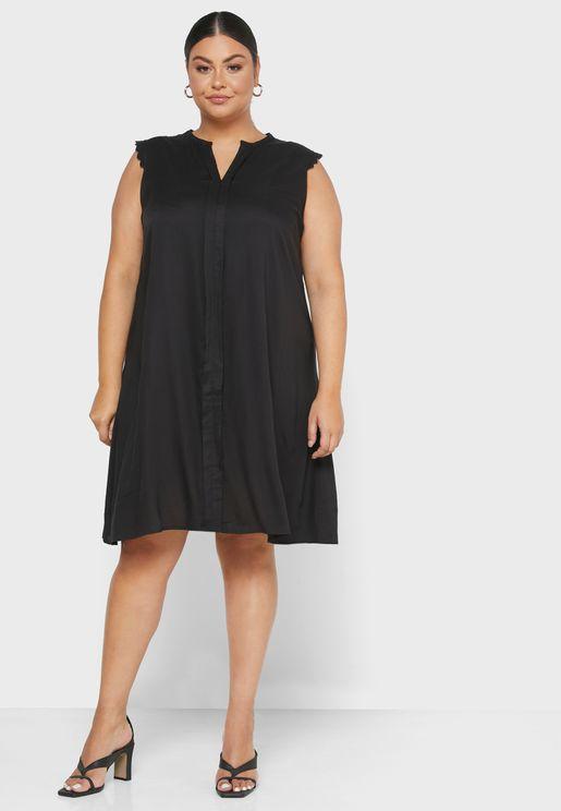 Button Detail Lace Trim Dress