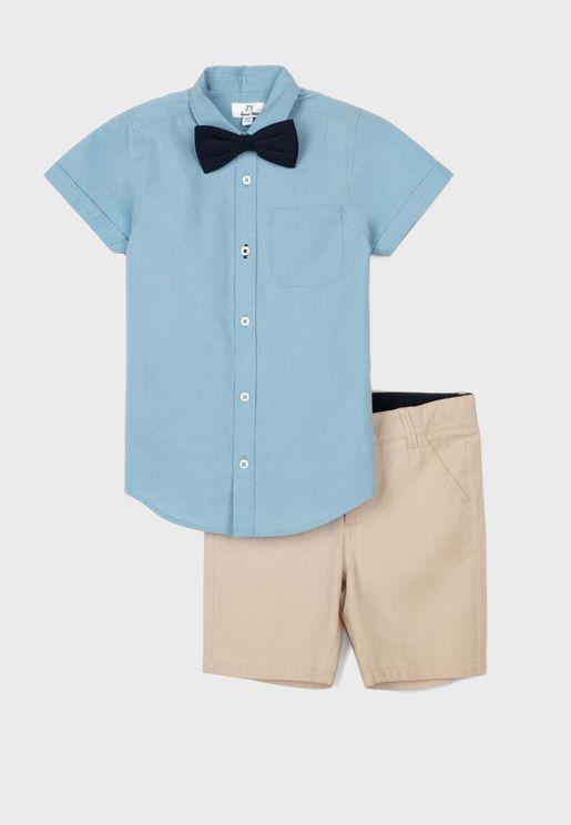 Kids Bow Tie Shirt + Shorts Set
