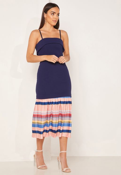 Skyla Pleated Colorblock Cami Dress