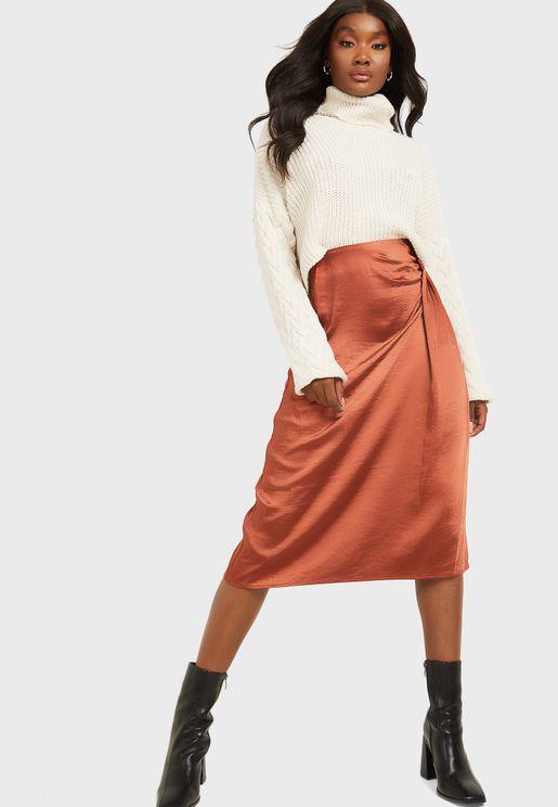 High Waist Pleat Detail Side Split Midi Skirt