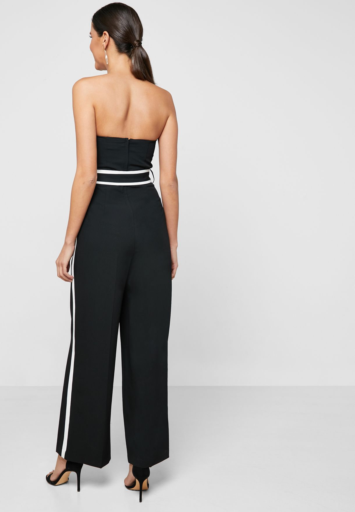 Bandeau Side Striped Belted Jumpsuit