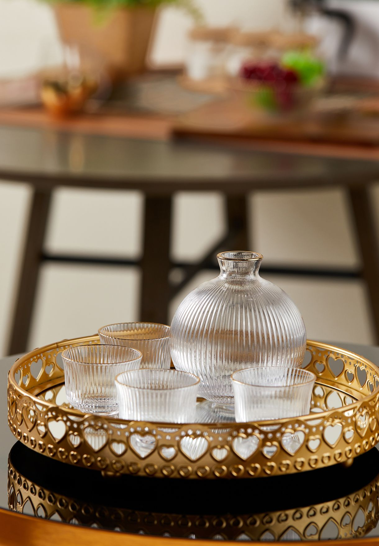 Gold Detail Carafe & Glasses Set