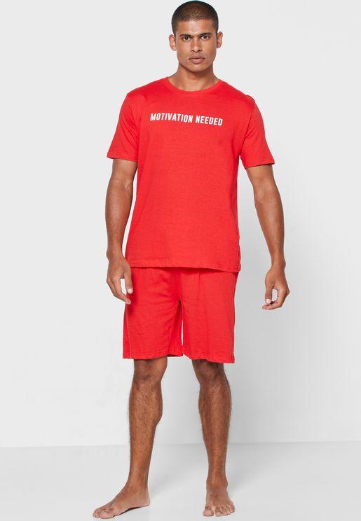Slogan Crew Neck T Shirt & Shorts Set